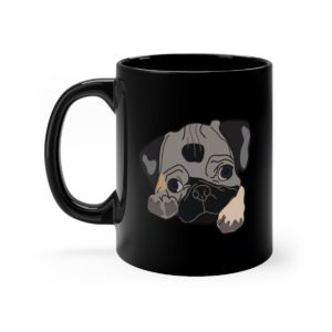 Pug Cute Black Mug 11oz