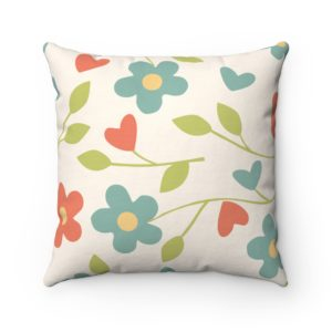 Flower Spun Polyester Square Pillow