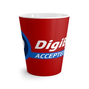DigiByte Accepted Here (RED) Latte mug
