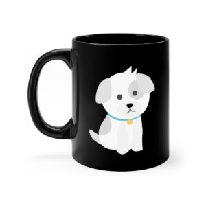 Cute Dog Black Mug 11oz