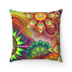 Psychedelic Spun Polyester Square Pillow